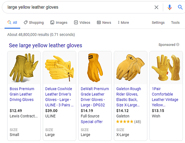 gloves ads in google