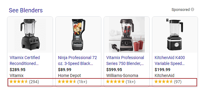 rating extension on google shopping ads